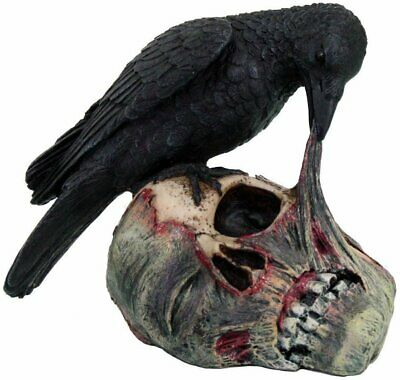 Pacific Giftware Halloween Raven on Zombie Skull Statue Figurine, Black