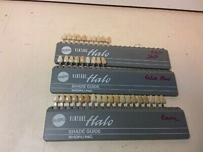 Batch of 3 Teintier Shade Guide Vintage Halo Shofu Basic Value plus Red Shift