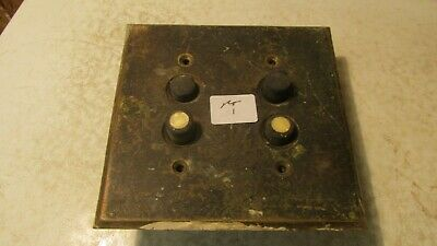 2 Antique Arrow Push Button Light Switches & Brass Cover Plate Parts No. 1