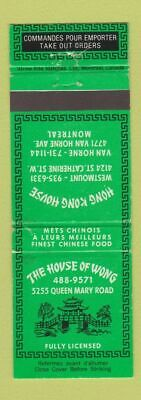Matchbook Cover - House of Wong Chinese Restaurant Montreal QC