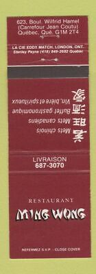 Matchbook Cover - Restaurant Ming Wong Chinese Quebec QC