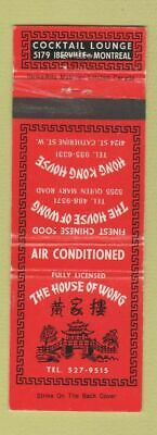 Matchbook Cover - House of Wong Chinese Restaurant Montreal QC WEAR