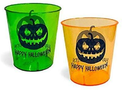 Halloween Shot Glasses - Durable Plastic - 1 Oz. - With Happy Halloween Design -