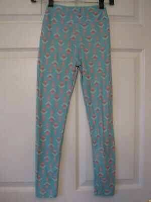 LulaRoe Tween Leggings New NWOT Girls Kids Stretch Pants Green Aqua Print Teen
