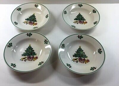 """4 Gibson's Holly Tree Soup Cereal Bowls 8"""" Christmas Dinnerware"""