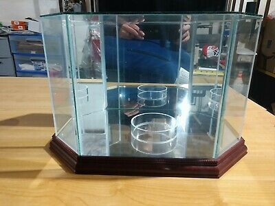 Glass Octagon Football Display Case Cherry Wood Base and Mirrored Back