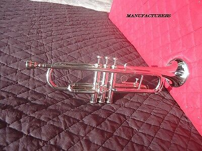 """TRUMPET-BRAND-NEW""""STANDARD-Bb-chrome-FINISH*MARCHING-CONCERT-BAND+MUTE/CASE"""