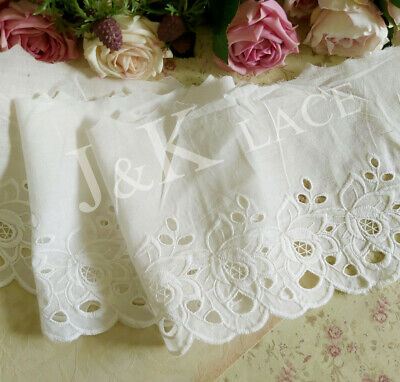 15.5 cm width Off White Cotton Embroidery Lace Trim
