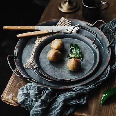 Serving Tray Iron Craft Round Flat Plate With Handles Restaurant Home Decoration