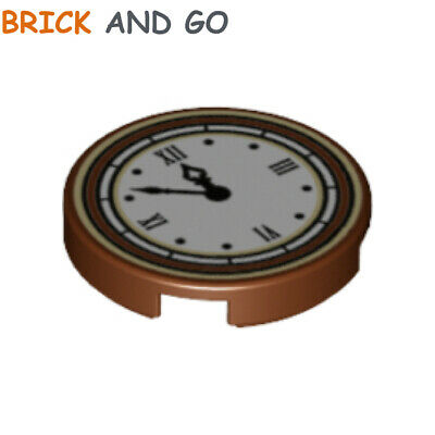 Round Clock with Roman Numerals Simple Pattern LEGO Tile Brown
