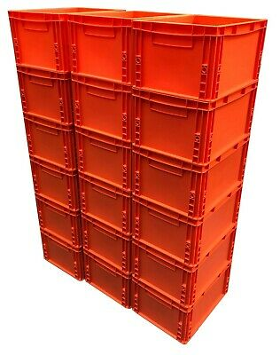 18 x 20 Litre Heavy Duty Plastic Stacking Euro Storage Containers Boxes Crates