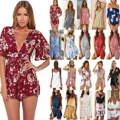 Womens Boho Playsuit Mini Dress Beach Shorts Pants Jumpsuit Holiday Summer Beach