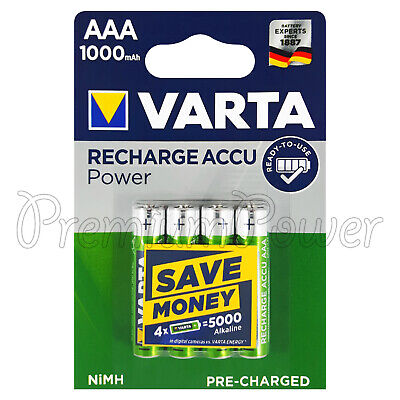 4 x Varta AAA 1000mAh batteries Rechargeable Ni-MH 1.2V HR03 Micro Accu Power