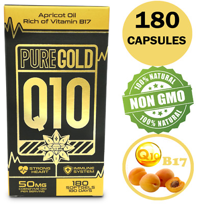 CoEnzyme Q10 COQ10 Vit B17 50mg APRICOT Oil 180 Capsules Strong Heart Immune