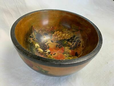 Vintage Painted Turned Wooden Bowl