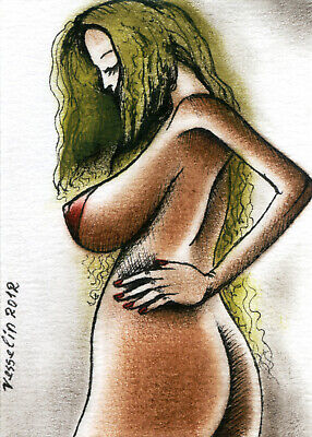 ACEO Artist Trading Card Female Nude Mini Art Print Of Woman Oil Painting Blonde