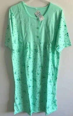 Ladies 'Lucky Brand' Poly/Cotton S/Sleeved Green  Floral' Nighty (Size 24/26)