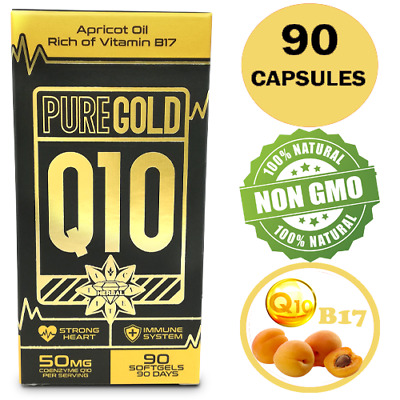CoEnzyme Q10 COQ10 Vit B17 50mg APRICOT Oil 90 Capsules Strong Heart Immune