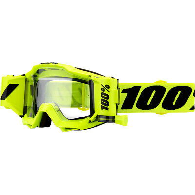 New 2020 100% 100 Percent Accuri Forecast Fluo Yellow Motocross Roll Off Goggles