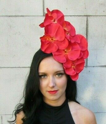 Red Orchid Flower Fascinator Headpiece Headband Wedding Floral Hair Crown 7591