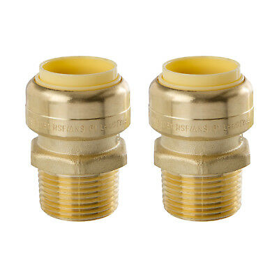 Little Well brass 3/4'' Push-Fit X Male Pipe Thread Coupling, 2 Pack