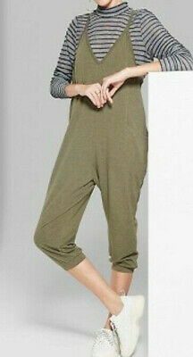 *Womens Strappy V-Neck Cropped Knit Jumpsuit Wild Fable Olive Green