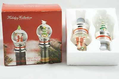 Silver Plated Christmas Waterball Bottle Stoppers Wine Toppers Snow Globes