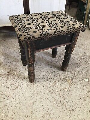 Old Wooden Piano Stool Art Deco Fabric Lift Up Seat Music Storage 17/9/R
