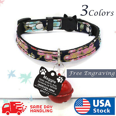 Mogoko Personalized Breakaway Cat Collar Reflective Customized Kitten Pet Collar with Engarved ID Name Plate and Bell