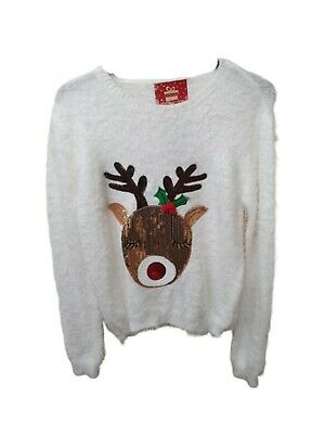 Kids Rudolf Christmas Jumper Sequin Knit X-Mas Girls Knitted Top Primark