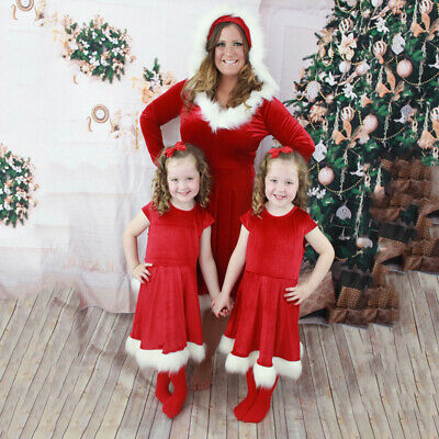 Christmas Dress Mother Daughter Parent-child Family Matching Clothes Outfit Hot