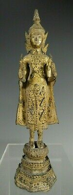Thai Thailand Rattanakosin Period Gilded Bronze Standing Buddha ca. 19th c