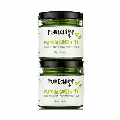 PureChimp Matcha Green Tea Powder | Regular/Lemon/Mint/Turmeric 50g Jars [Pac...