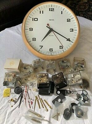 VINTAGE Smiths SECTRIC SCHOOL OFFICE WALL CLOCK + 9 x battery movements & hands