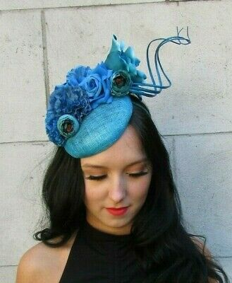 Turquoise Teal Blue Sinamay Feather Flower Hat Hair Fascinator Ascot Races 7606