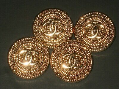Chanel 4 cc buttons  METAL GOLD TONE 20mm lot of 4 good condition
