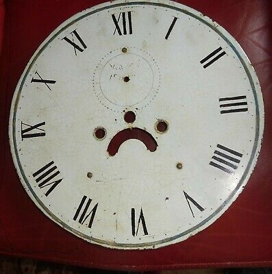 "Antique  Longcase / Grandfather  Clock  Painted  13""  Round  Dial"
