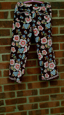 Room Seven Oilily floral pattern 100% cotton/velvet trousers age 7-8 years