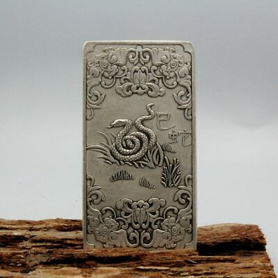 Collection Handwork Old Miao Silver Carved Snake Chinese Zodiac Exorcism Pendant