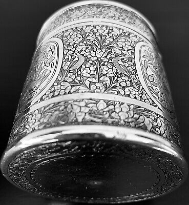 Antique hand engraved Persian Islamic Arabic silver cylinder box 157 g