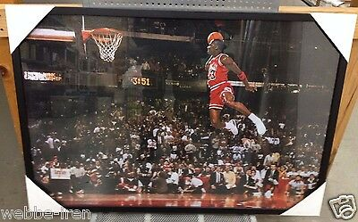 New Framed Michael Jordan Free Throw Foul Line Dunk Quality Poster Print 38x26in