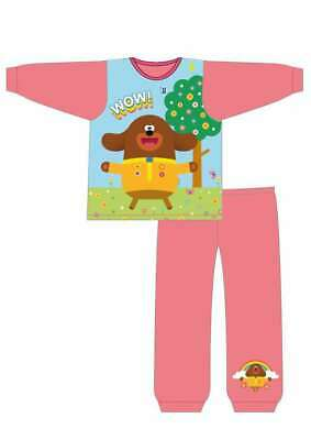 "Girls Hey Duggee Pyjamas Kids Nightwear ""WOW"" 18 Months to 5 Years Pink PJs"