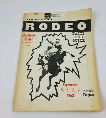 Vintage 1963 Mid Ozark Rodeo Waynesville Missouri Rodeo Facts Guide Booklet