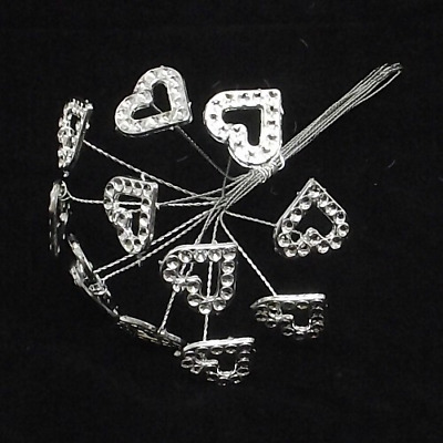 ACRYLIC DIAMANTE HEART ON WIRE CLEAR/SILVER X 12pcs