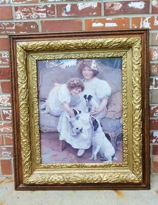 Antique Picture Frame Gilt Gold Gesso Wood Ornate Girls 3 Puppies 25x29