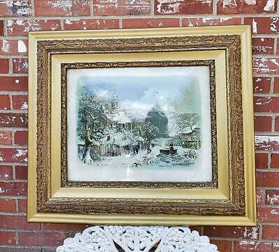 Antique Picture Frame Gilt Gold Gesso Ornate With Christmas Night Print 30.5x26.