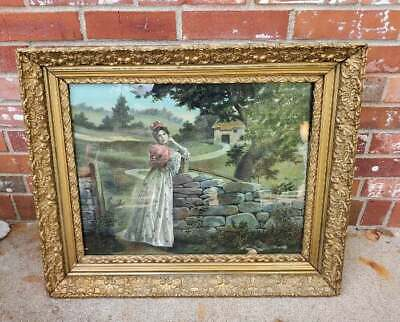 Antique Picture Frame Gilt Gold Gesso Ornate Girl By A Well Print 26x21.5