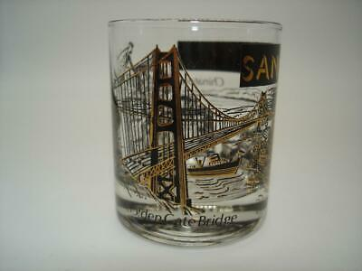 VTG San Francisco Black & Gold Souvenir Shot Glass Golden Gate Bridge Alcatraz