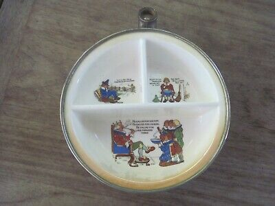"""Old Porcelain & Chrome? Divided Baby Dish, Made Germany """"K"""" Mark, Very Used"""