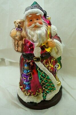 THOMAS PACCONI SANTA CENTERPIECE HUGE 14in BLOWN GLASS HAND PAINTED 2004 30 YEAR